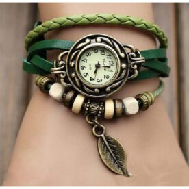 Green Leather Bracelet Watch in Pakistan