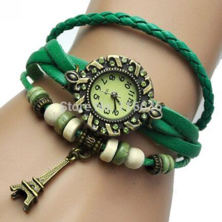 Green Leather Bracelet Watch Pakistan