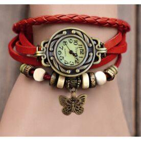 Red Leather Bracelet Watch In Pakistan