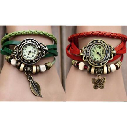 Pack of 2 Leather Bracelet Watches in Pakistan