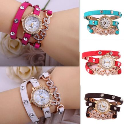 Pack of 2 Love Leather Bracelet Watches pakistan