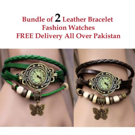 bundle of 2 leather bracelet watches pakistan