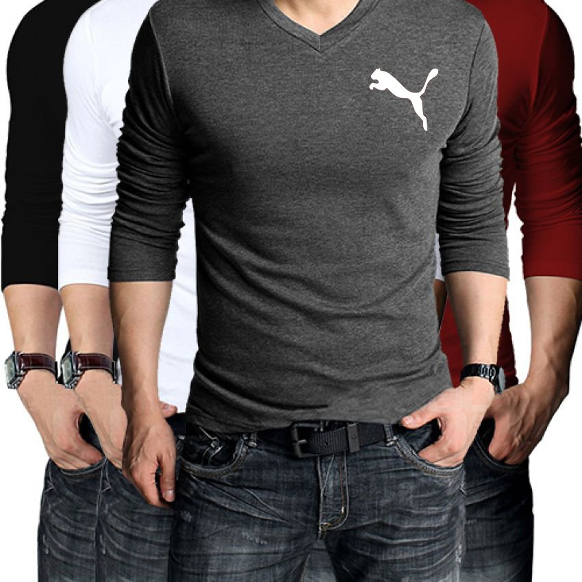 Buy pack of 4 puma full sleeves t shirts in pakistan for Full sleeve t shirts online