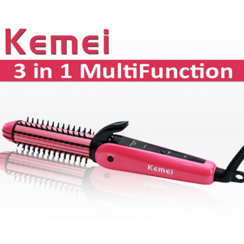 Kemei 3 in 1 Hair Straightener & Curler