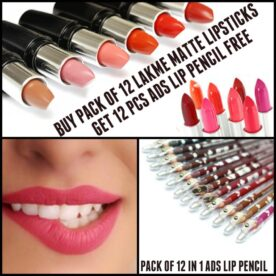 12 Lakme Matte Lipsticks & 12 ADS Lip Pencil in Pakistan