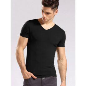 Man's Black V-Neck T-Shirt in Pakistan