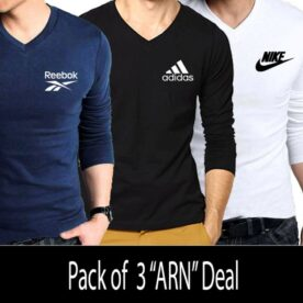 Pack Of 3 Brand Logo Printed V-neck T-shirts For Men In Pakistan