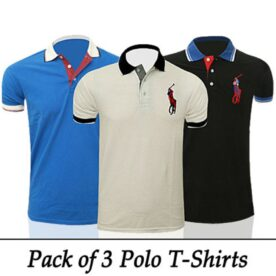 Pack of 3 Half Sleeves Polo Shirts for Him