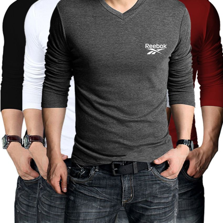 Pack of 4 reebok full sleeves v neck t shirts for men for Full sleeves t shirts for men