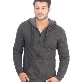 Charcoal Grey Fleece Zipper Hoodie in Pakistan