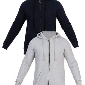 Grey & Blue Fleece Zip up Hoodie For Men in Pakistan