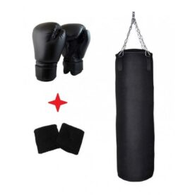 Pack of 3 - Boxing Bag + Gloves + Wrist Grip - Black in Pakistan