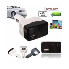 12V Car USB Charger Power Inverter - Black And White in Pakistan