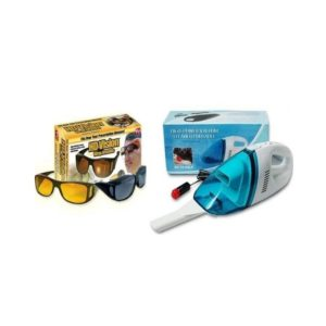 Pack Of 2 Car Vacuum Cleaner & Hd Vision Glasses in Pakistan