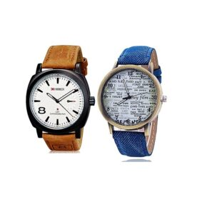 Pack of 2 Blue & Brown Leather Strap Analog Watch in Pakistan